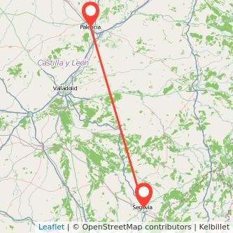 Mapa del viaje Segovia Palencia en bus