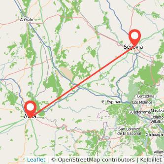Mapa del viaje Segovia Ávila en bus