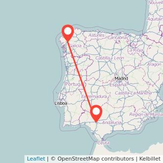 Mapa del viaje Santiago de Compostela Sevilla en bus