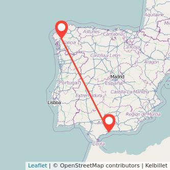 Mapa del viaje Santiago de Compostela Málaga en bus