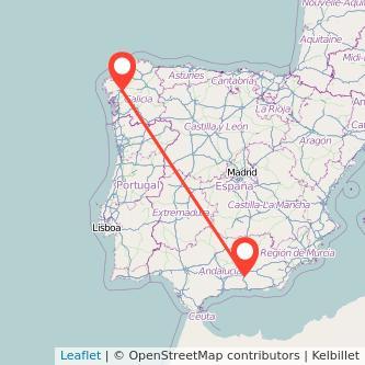 Mapa del viaje Santiago de Compostela Granada en bus