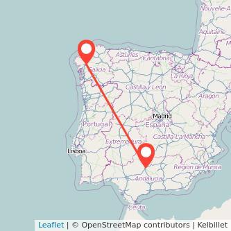 Mapa del viaje Santiago de Compostela Córdoba en bus