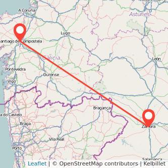 Mapa del viaje Santiago de Compostela Zamora en bus