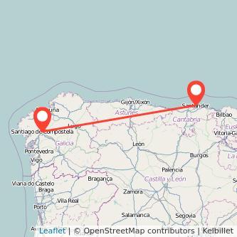 Mapa del viaje Santiago de Compostela Santander en bus