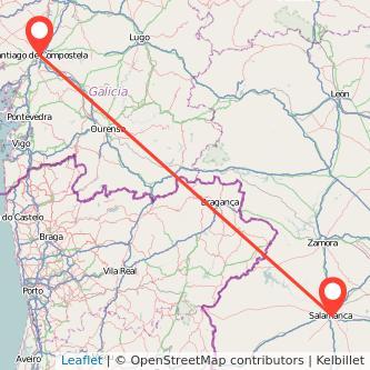 Mapa del viaje Santiago de Compostela Salamanca en bus