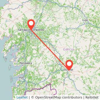 Mapa del viaje Santiago de Compostela Ourense en bus