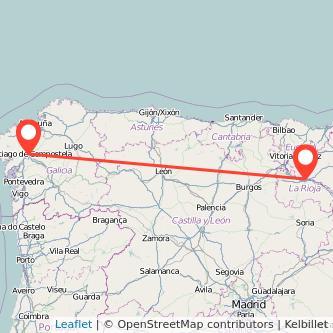 Mapa del viaje Santiago de Compostela Logroño en bus