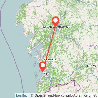 Mapa del viaje Santiago de Compostela Cangas en bus