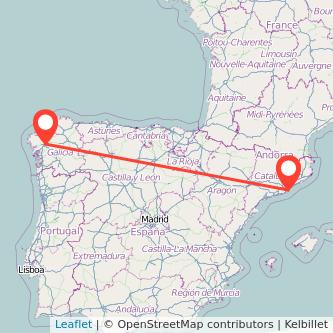 Mapa del viaje Santiago de Compostela Barcelona en bus