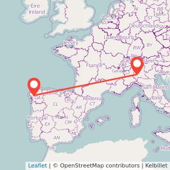Mapa del viaje Santiago de Compostela Milan en bus