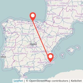 Mapa del viaje Santander Torrevieja en bus