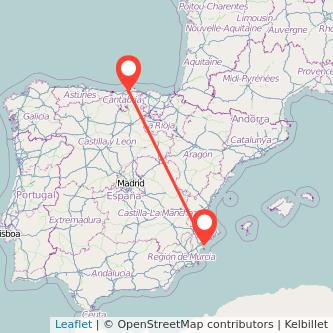 Mapa del viaje Santander Alicante en tren