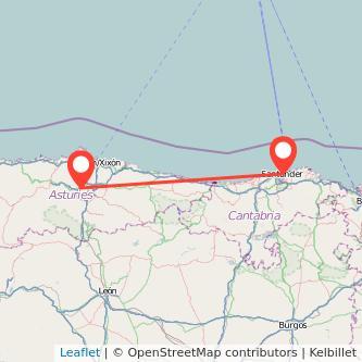 Mapa del viaje Santander Oviedo en tren
