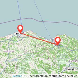 Mapa del viaje Santander Bilbao en bus