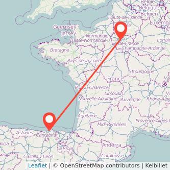 Mapa del viaje Santander París en bus
