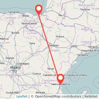 Mapa del viaje San Sebastián Valencia en bus