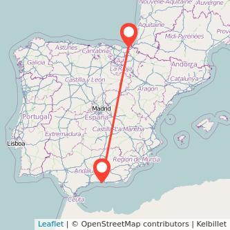 Mapa del viaje San Sebastián Almuñécar en bus