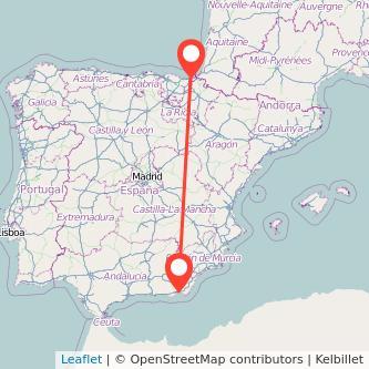 Mapa del viaje San Sebastián Almería en bus