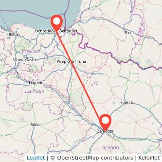 Mapa del viaje San Sebastián Zaragoza en bus