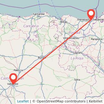 Mapa del viaje San Sebastián Valladolid en bus