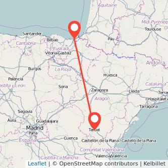 Mapa del viaje San Sebastián Teruel en bus