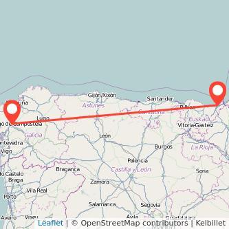Mapa del viaje San Sebastián Santiago de Compostela en bus