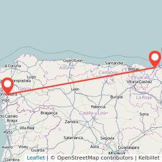 Mapa del viaje San Sebastián Pontevedra en bus