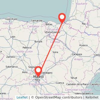 Mapa del viaje San Sebastián Madrid en bus
