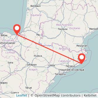 Mapa del viaje San Sebastián Lloret de Mar en bus