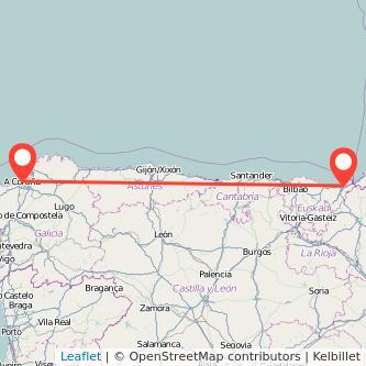Mapa del viaje San Sebastián A Coruña en bus