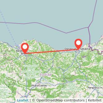 Mapa del viaje San Sebastián Bilbao en bus