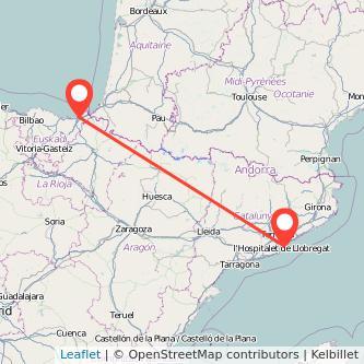 Mapa del viaje San Sebastián Barcelona en bus