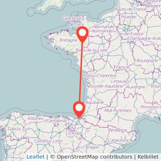 Mapa del viaje San Sebastián Rennes en bus