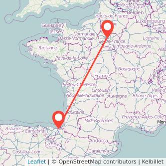 Mapa del viaje San Sebastián París en bus