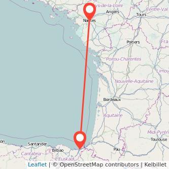 Mapa del viaje San Sebastián Nantes en bus