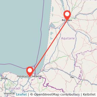 Mapa del viaje San Sebastián Burdeos en bus