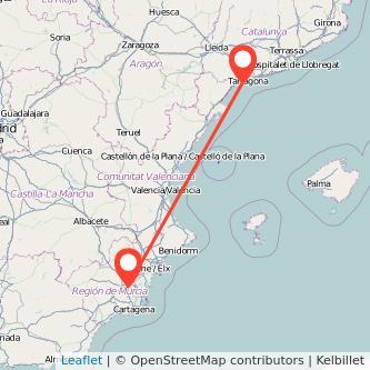 Mapa del viaje Salou - Port Aventura Murcia en bus