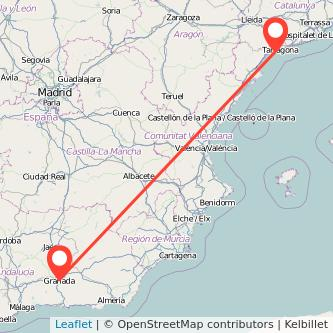 Mapa del viaje Salou - Port Aventura Granada en bus
