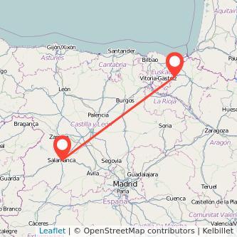 Mapa del viaje Salamanca Alsasua en tren