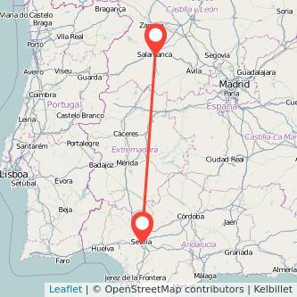 Mapa del viaje Salamanca Sevilla en bus