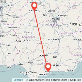 Mapa del viaje Salamanca Málaga en tren