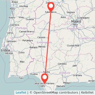 Mapa del viaje Salamanca Jerez de la Frontera en bus
