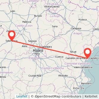 Mapa del viaje Salamanca Castellón en bus