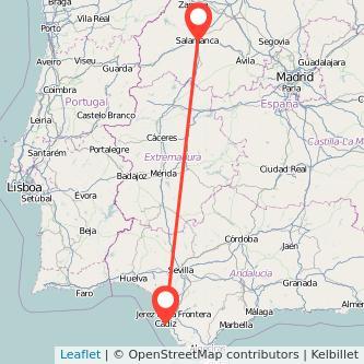 Mapa del viaje Salamanca Cádiz en tren