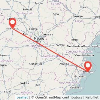 Mapa del viaje Salamanca Benidorm en bus