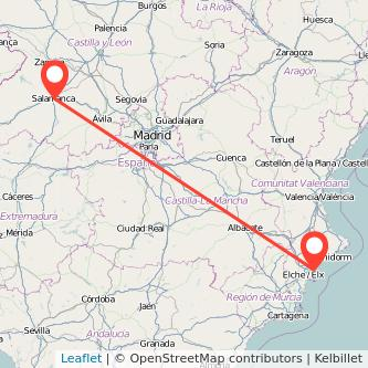 Mapa del viaje Salamanca Alicante en tren