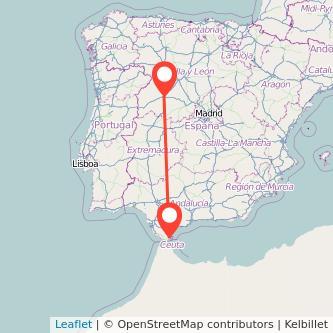 Mapa del viaje Salamanca Algeciras en bus