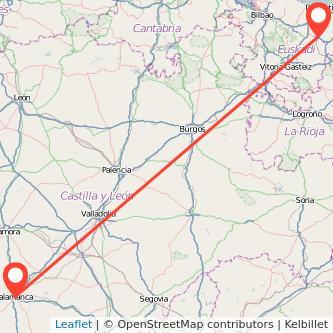Mapa del viaje Salamanca Zumarraga en tren