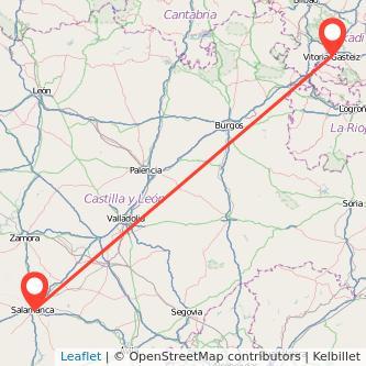 Mapa del viaje Salamanca Vitoria-Gasteiz en tren