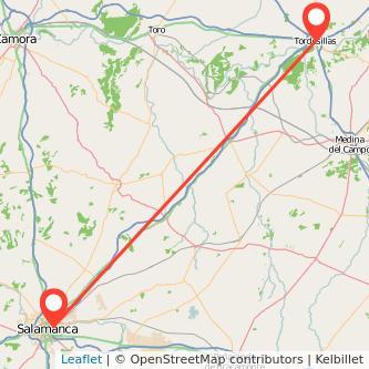 Mapa del viaje Salamanca Tordesillas en bus